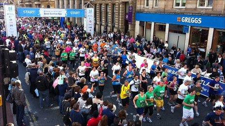 Runners begin the 2011 Great Scottish Run