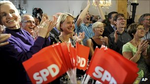 SPD supporters celebrate in Schwerin, northern Germany