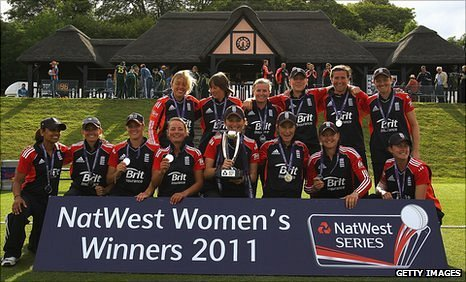 England celebrate with the one-day series trophy at Wormsley