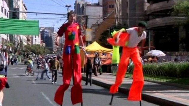 Stilt walkers in Bolivia