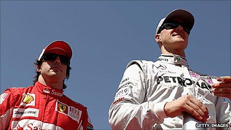 Ferrari driver Fernando Alonso and Mercedes driver Michael Schumacher