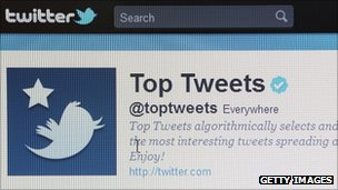 Close-up view of micro-blogging website Twitter on a computer screen