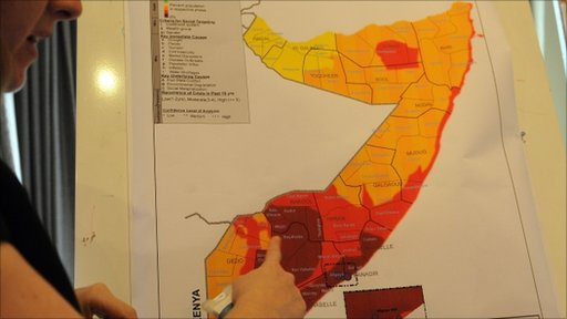 UN map of areas where famine has spread in southern Somalia