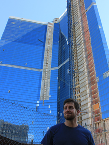 David Schwartz in front of the Fontainebleau Hotel construction site