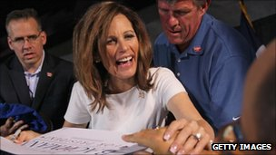 Republican presidential candidate Minnesota congresswoman Michele Bachmann in Waterloo, Iowa