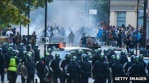 Riots in Hackney, east London