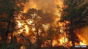 Flames near Bastrop State Park