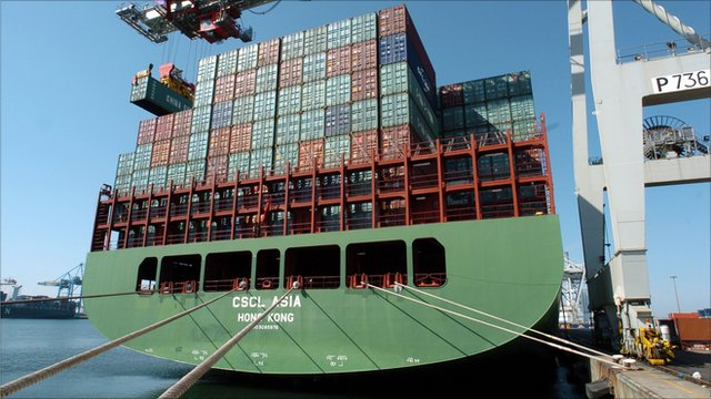 A Chinese container ship