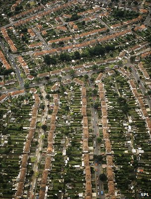 Aerial view of homes, London (Science Photo Library)