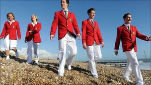 Butlins Redcoats wearing the new retro uniform