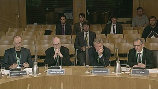 Dr Stuart Waiton, Graham Walker, Graeme Spiers and Pat Nevin give evidence to the Justice Committee in the Scottish Parliament