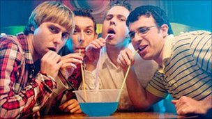 James Buckley, Blake Harrison, Joe Thomas and Simon Bird in The Inbetweeners Movie