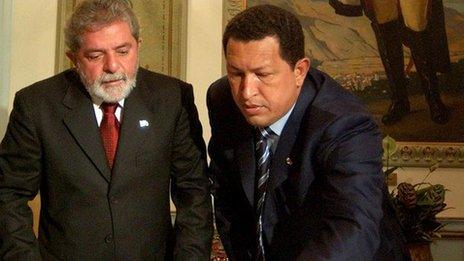 Then Brazilian President Ignacio Lula da Silva and Venezuelan President Hugo Chavez