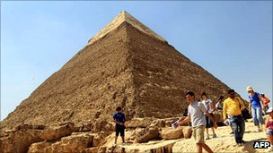 Tourists in front of Great Pyramid of Giza
