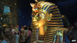 Funerary mask of King Tutankhamun in the Egyptian Museum, Cairo