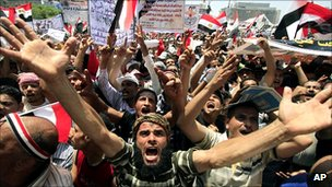 Anti-government protesters in Tahrir Square, Cairo