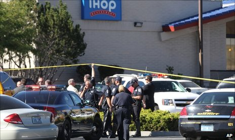 Emergency personnel at the IHOP in Carson City, Nevada on 6 September 2011