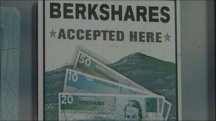"Sign reads ""Berkshares accepted here"""