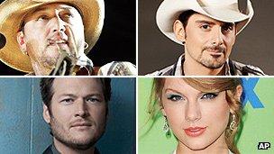 Jason Aldean, Brad Paisley, Blake Shelton, Taylor Swift