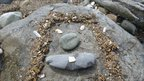"""Rock """"face"""" at Shell Island, Gwynedd"""