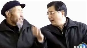 Farmer Li Cai, left, and Chinese President Hu Jintao