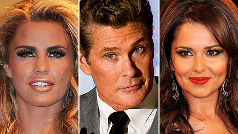 Katie Price, David Hasselhoff and Cheryl Cole