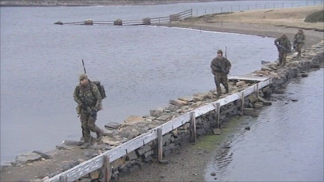 Soldiers on patrol in the Falkland Islands