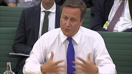 David Cameron giving evidence to the liaison committee