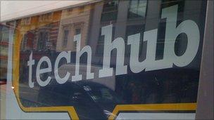 """""""Tech hub"""" sign"""