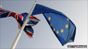 Union Jack and the flag of the European Union