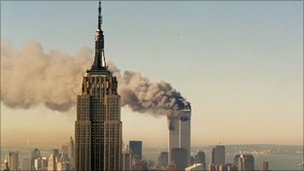 The World Trade Center towers on 11 September 2001