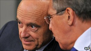 Alain Juppe (L) and Sergei Lavrov, Moscow 7 Sept