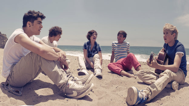 One Direction on the beach for their video for What Makes You Beautiful