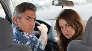 George Clooney and and Shailene Woodley in The Descendants