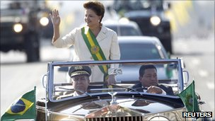 President Rousseff waves to the crowds from her car during Independence Day celebrations