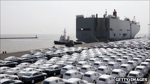 VW cars awaiting export from Emden docks in Germany