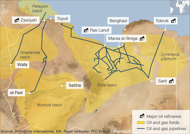 लिबियातील तेल (चित्र बी.बी.सी. वरून साभार)