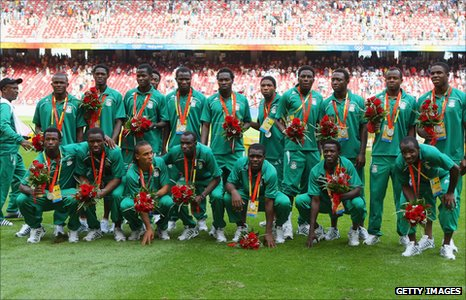 Nigeria with their silver medals at the 2008 Olympic Games
