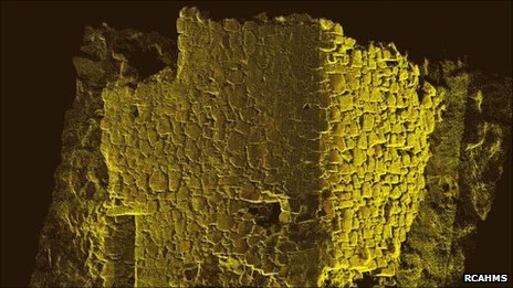 Laser scanned Coroghan Castle walls. Pic: RCAHMS