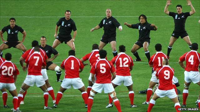 All Blacks perform the haka in front of the Tongan team before a Rugby World Cup 2003 game