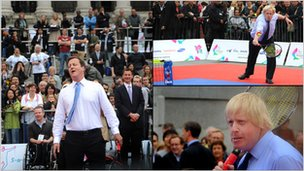 Prime Minister David Cameron and London Mayor Boris Johnson try tennis