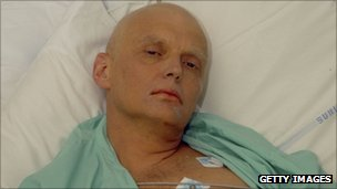 Alexander Litvinenko in a London hospital just before his death