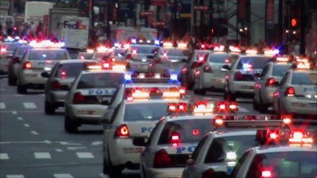 NYPD police car convoy