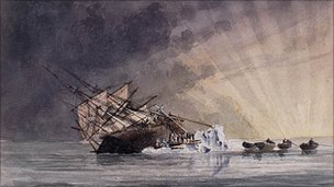 A painting of the HMS Terror