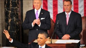 President Obama with Vice President Joe Biden and Speaker of the House John Boehner behind him