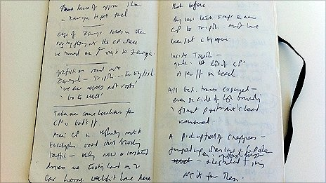 One of Jeremy Bowen's notebooks