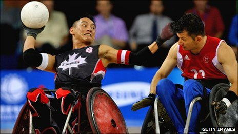 Contestants playing wheelchair rugby at the Beijing Paralypics