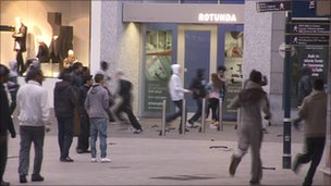 Youths in Birmingham city centre during the riots