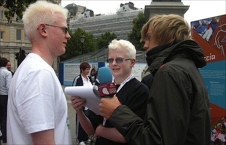 David and Charlie interview Adam at Trafalgar Square