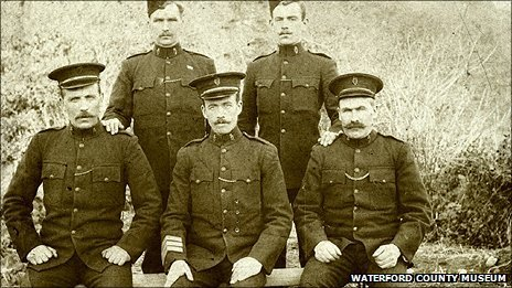 Sgt Patrick Hassett (front row, centre) flanked by colleagues from the Royal Irish Constabulary circa 1910